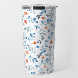 Hand painted watercolor orange pastel blue floral Travel Mug