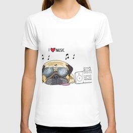 I love music-rock pug dog T-shirt