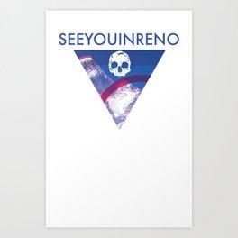 See You In Reno - Skull Mountain Triangle Art Print