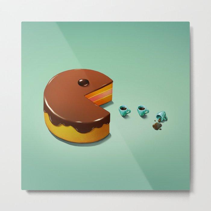 Art Snacks: Pacman Cake Metal Print