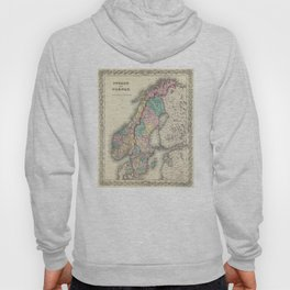 Vintage Map of Norway and Sweden (1856) Hoody