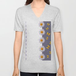 WHITE DAISIES & SPRING BUTTERFLIES & WHITE-GREY ART Unisex V-Neck