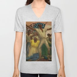 """African American Classical Masterpiece """"Emancipation"""" by John Steuart Curry Unisex V-Neck"""
