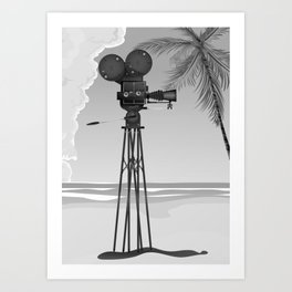Vintage old time movie camera on a beach Art Print
