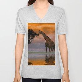 Giraffe at Sunset Unisex V-Neck