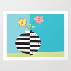 round whimsy vases with flowers Art Print