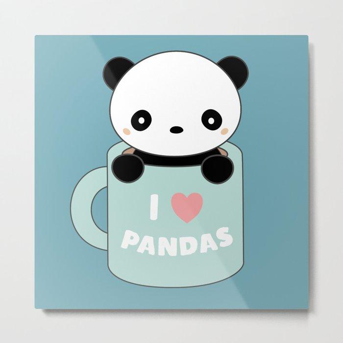 Kawaii I Love Pandas Metal Print
