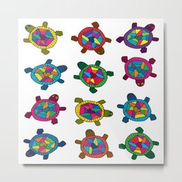 Multi Color Turtles Metal Print