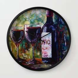 Aged Wine oil painting with palette knife Wall Clock
