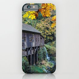 Watermill USA Washington Cedar Creek Grist Mill, Woodland Autumn Nature water mill iPhone Case