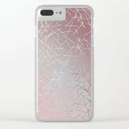 Soft Blue, Pink and Peach Skintone Tie Dye Hues with 90s Confetti Minimal Pattern Home Goods Clear iPhone Case