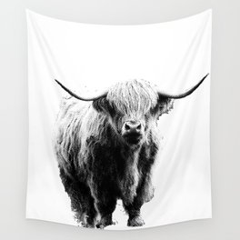 Newspaper Print Style Highland Cow. Scotland, Bull, Horns. Wall Tapestry