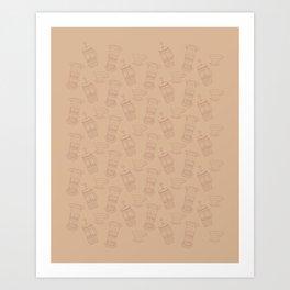 Coffee Brewing Pattern - Neutral Art Print