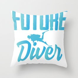 Future diver diving Throw Pillow