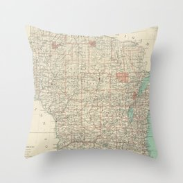 Vintage Map of Wisconsin (1886) Throw Pillow