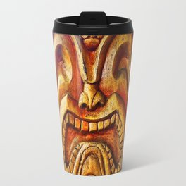 Crazy, fun, fierce, Hawaiian retro wood carving tiki face close-up Travel Mug