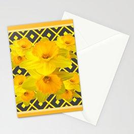 Golden Daffodils Grey Art Design Stationery Cards