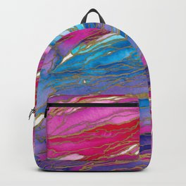 AGATE MAGIC PinkAqua Red Lavender, Marble Geode Natural Stone Inspired Watercolor Abstract Painting Backpack