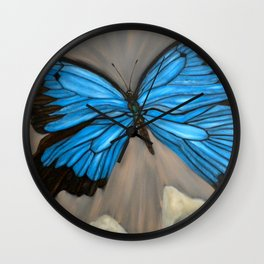 Ulysses Blue Butterfly Wall Clock