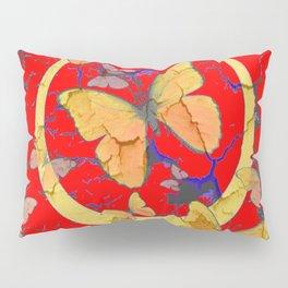 SHABBY CHIC GOLDEN BUTTERFLIES & RED ABSTRACT ART Pillow Sham
