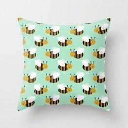 Bee pattern print mint honey bees nature inspired cute nursery kids gender neutral pattern Throw Pillow