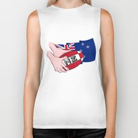 new zealand Biker Tanks featuring Rugby Ball New Zealand by mailboxdisco