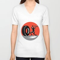 workout V-neck T-shirts featuring Tire Sledgehammer Workout Woodcut by patrimonio