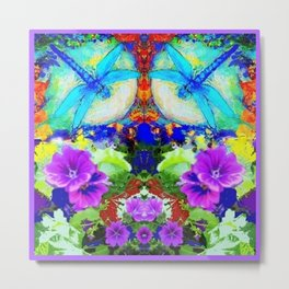 Purple Flowers with Flirting Blue Dragonflies Western Art Metal Print