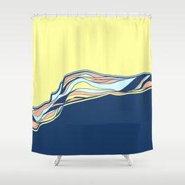 light blue & navy & banana / minimalist Shower Curtain