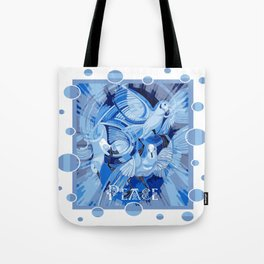 Dove With Celtic Peace Text In Blue Tones Tote Bag