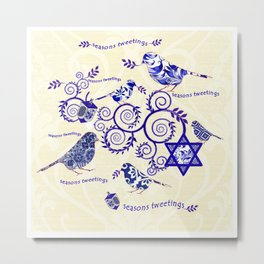 Hanukkah Seasons Tweetings  Metal Print
