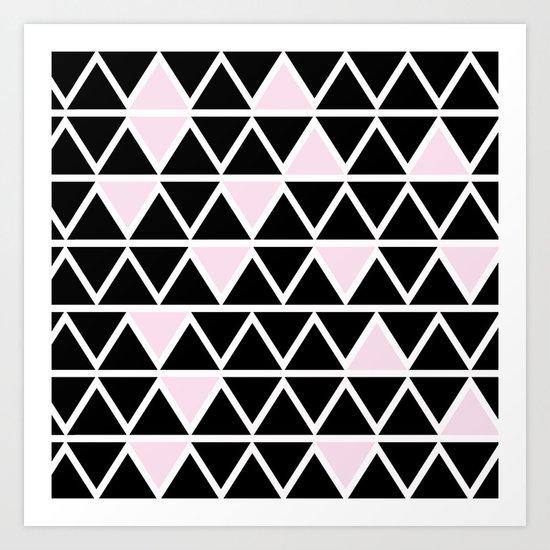 Abstract geometric triangle pattern- pink-black Art Print