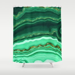 Gold And Malachite Marble Shower Curtain