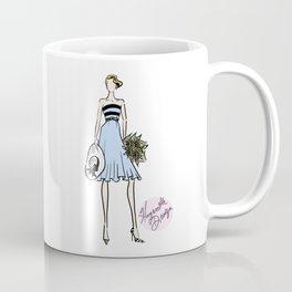 "Hayworth Design Fashion Illustration ""Fashionable Girl in Blue Dress with Sunflowers"" Coffee Mug"