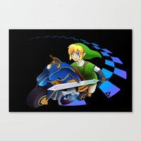 mario kart Canvas Prints featuring Mario Kart 8 - Link on the Mastercycle by brit eddy