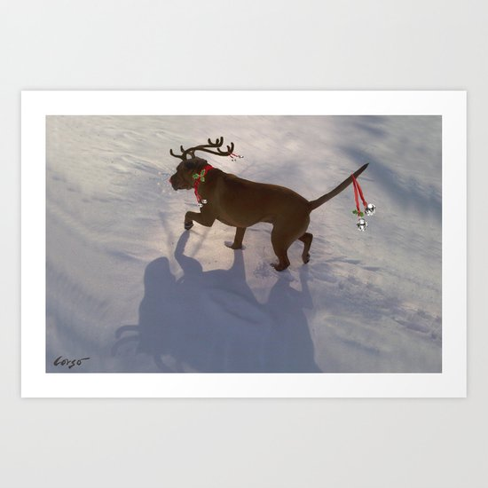 """DASHING THROUGH THE SNOW ...Christmas PLaY-Do'LPH"" from the photo series""My dog, PLaY-DoH"" Art Print"