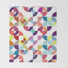 Midcentury geometric Abstract art Blue pink purple multicolor Throw Blanket