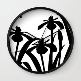 Iris Abstract Flower leaves --- black and white Wall Clock