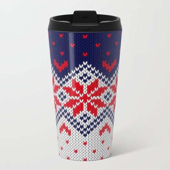 Winter knitted pattern 11 Metal Travel Mug
