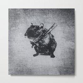 Angry street art mouse / hamster (baseball edit) Metal Print