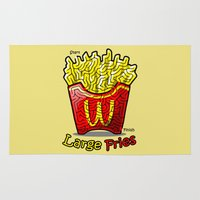 french fries Area & Throw Rugs featuring Maze Shirts: Large Fries by MelAiken