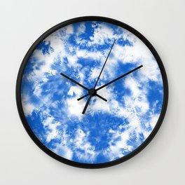 Blue Tie Dye & Batik Wall Clock