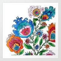 Folkart Bouquet Art Print
