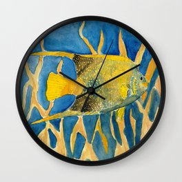 tropical fish square painting Wall Clock