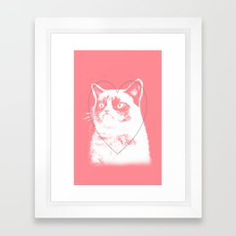 grumpy cat pink Framed Art Print