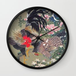 Jakuchu Niwatori Rooster Wall Clock