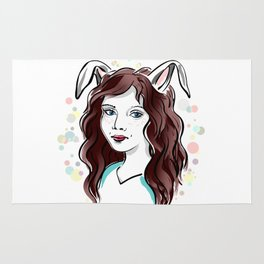 Girl with Rabbit Ears Rug