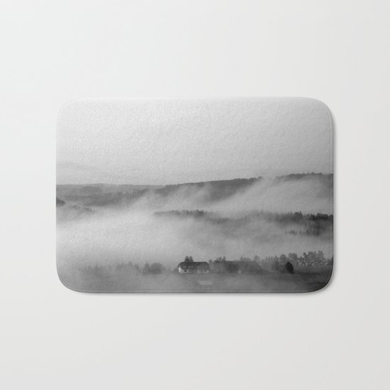 Landscape with fog Bath Mat