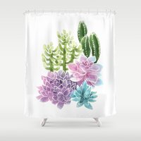 succulents Shower Curtains featuring Succulents by Megan Alcock