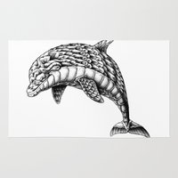 ornate Area & Throw Rugs featuring Ornate Dolphin by BIOWORKZ